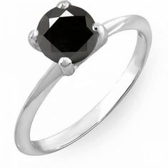 Share and get $20 off your order of $100 or more. 1.00 Carat (ctw) 14K White Gold Round Black Diamond Ladies Bridal Engagement Solitaire Ring 1 CT - Dazzling Rock #https://www.pinterest.com/dazzlingrock/