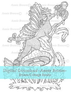 Dragons Adult Coloring Pages Fantasy Printable Download Digi Stamp Line Art Book Dragon Fairy By Annie Brown