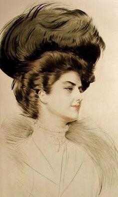 Woman facing towards the right // Paul Cesar Helleu (French artist, 1859-1927)