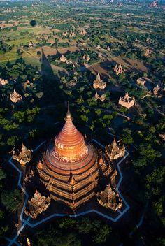 Temples of Bagan from a hot-air balloon, Burma