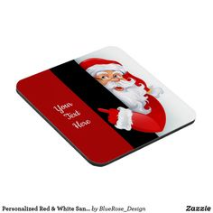 Personalized Red & White Santa Beverage Coaster Holiday Cards, Christmas Cards, Christmas Decorations, Cold Drinks, Beverages, Custom Coasters, Christmas Items, Drink Coasters, Holiday Treats