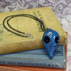 Deep Blue Aged Hand Sculpted Steampunk Goth by madrabbitcouture