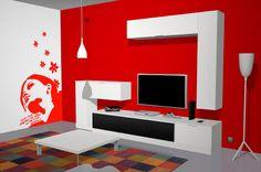 Muebles salón comedor con un vistoso vinilo en color rojo –   Intenem