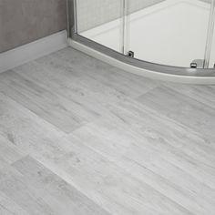 Harlow 181 x 1220mm Dove Grey Finish Vinyl Waterproof Plank Flooring - Close up image of grey bathroom vinyl flooring | 26 Doable Modern Bathroom Ideas victorianplumbing.co.uk/bathroom-ideas-and-inspiration/26-doable-modern-bathroom-ideas