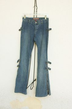 VANILLA STAR Denim Jeans Gothic Punk Zippers Adjusters Ombre Wash Size 3 #VanillaStar #Flare #denim #jeans #fashion #hipster #trend #style #gothic #punk #cool
