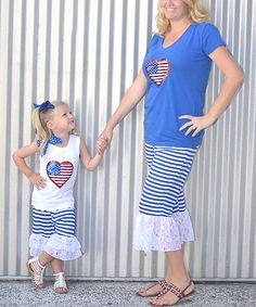 This CopyCat Couture Flag Heart Tee & Capri Pants Set - Infant, Toddler, Girls & Women by CopyCat Couture is perfect! #zulilyfinds