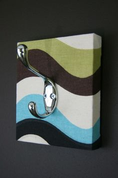 Coat Hook / Accessory Hanger / Blue, Brown, Black, Green And Cream