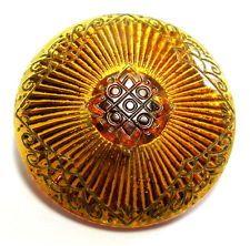 LOVELY ANTIQUE VICTORIAN GOLDEN AMBER GLASS BUTTON w/LINE DESIGN