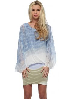 Monton Tie Dye Blue & Mocha Silk & Jersey Tunic Dress