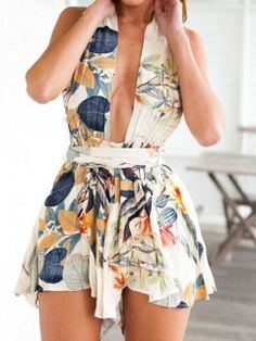 Shop Multi Deep V Leaf Print Twist Strap Backless Romper Playsuit from choies.com .Free shipping Worldwide.$19.9