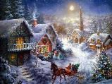 Beautiful Christmas Paintings Hd Print On Canvas Home Decor Wall Art Pictures Christmas Town, Christmas Scenes, Old Fashioned Christmas, Christmas Pictures, Christmas Art, Beautiful Christmas, Winter Christmas, Christmas Landscape, Winter Fun