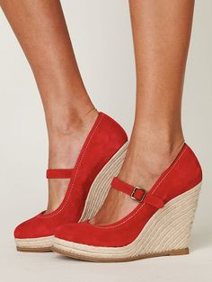 red mary jane espadrilles