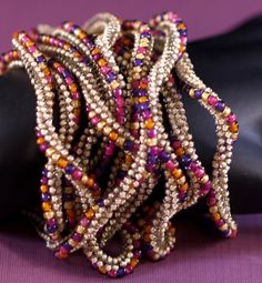 Marrakesh ... Necklace . Beadwoven . Bracelet . Twisted . Rich Colors . Sand . Magenta . Purple . Orange . Gold . Versatile . Luscious. $98.00, via Etsy.