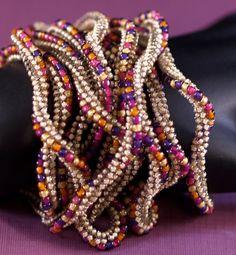 Marrakesh ... Necklace . Beadwoven . Bracelet . Twisted . Rich Colors . Sand . Magenta . Purple . Orange . Gold . Versatile . Luscious. $98.00, via Etsy.