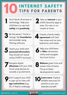 10 Internet Safety Tips for Parents (How To Help Your Child Be Safe Online) Internet Safety For Kids, Safe Internet, Cyber Safety For Kids, Common Sense Media, Parent Communication, Digital Citizenship, Child Safety, Kids Learning, Learning Tools