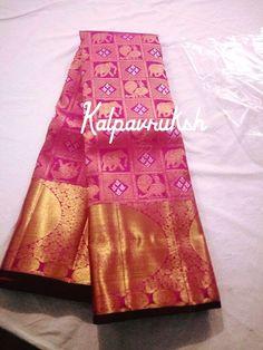 Pink elephant and peacock print pure kanchipuram saree South Indian Sarees, Indian Silk Sarees, Pure Silk Sarees, Bridal Wedding Dresses, Saree Wedding, Prakash Silks, Kanjipuram Saree, Silk Saree Kanchipuram, Bridal Silk Saree