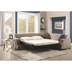 L-Shaped Couch with Pullout Sofa Bed