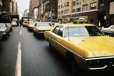 1970s America. Yellow Taxi Cabs