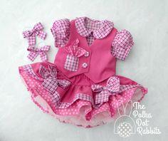 Toddler Girls Pink Denim Cowgirl Dress Twirl by ThePolkaDotRabbits