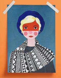 """Print mit einer Illustration aus der """"Portait""""-Reihe von Amy Blackwell. Maße: A3 ( 42 x 29,7cm) Archival Heavyweight Matte Paper Wird ohne Rahmen versendet Signiert"""