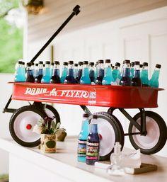 12 Delightful Drink Station Ideas: custom bottles of Jones Sode in a retro wagon