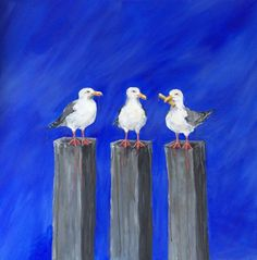 Buy Seagull Chip Envy on Blue, Acrylic painting by Karen Hiscock-Lawrence on Artfinder. Discover thousands of other original paintings, prints, sculptures and photography from independent artists.