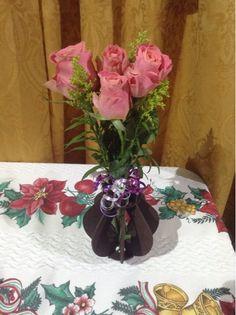 Florero tulipán decorado con flores
