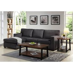 Better Homes and Gardens Oxford Square Reversible Sectional, Charcoal - Walmart.com