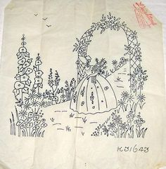 Vintage Deighton embroidery transfer - Crinoline Lady with Rose Flower Arch in Crafts, Embroidery, Patterns | eBay