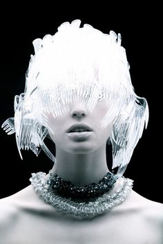 This series is called Plastic Fantastic by fashion photographer and designer Tomaas, based in New York. Using ordinary common household items as the base element for the head dresses, Tomaas crafted stunning designs along with the eye to capture beautiful photos