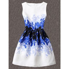 Leaves Print Jacquard A-Line Dress ($22) ❤ liked on Polyvore featuring dresses, short summer dresses, white skater dress, skater dress, sleeveless skater dress and short party dresses