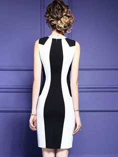 Buy Fashion O-Neck Hit Color Bodycon Work Dress with High Quality and Lovely Service at DressSure.com