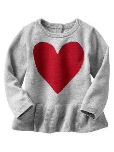 Gap | Intarsia heart peplum sweater