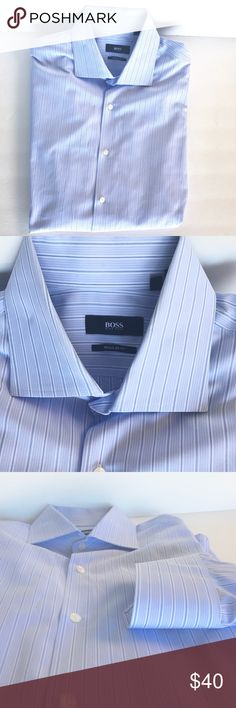 👔HP 2/24👔Hugo Boss Regular Fit Dress Shirt Hugo Boss Regular Fit Long Sleeve Dress Shirt, Light Blue pinstripe, size 16 1/2 (36/37), Smoke free home, EUC. Hugo Boss Shirts Dress Shirts
