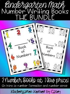 This bundle includes 2 Number Writing Books perfect for introducing number formation and number sense in kindergarten! The first book includes numbers 1 to 10. The second book includes 11 to 20. Students will be introduced to tracing and printing numbers, one-to-one correspondence, ten frames, tally marks, dominoes, and number lines.