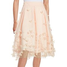 Eliza J Women's Floral Applique A-Line Skirt ($159) ❤ liked on Polyvore featuring skirts, blush, pleated skirts, floral a line skirt, pink pleated skirt, eliza j skirt and floral print skirt