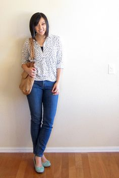Polka dot shirt  See also: http://www.puttingmetogether.com/2013/09/one-piece-many-ways-polka-dot-blouse.html
