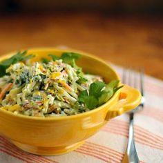 Lemon caper broccoli slaw salad