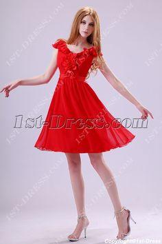 Popular Red Homecoming Dress with V-neckline:1st-dress.com