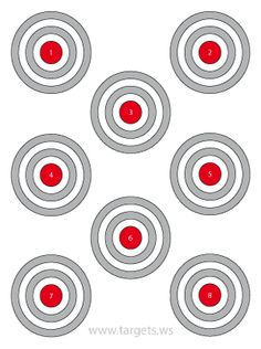 Eight Bullseye Targets with Gray Rings and Large Red Centers Pistol Targets, Rifle Targets, Bench Rest, Target Image, Paper Targets, Nerf Birthday Party, Multi Coloured Rings, Shooting Targets, Nerf Gun