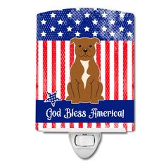 Patriotic USA Staffordshire Bull Terrier Brown Ceramic Night Light BB3042CNL