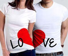 Playeras Love Él & Ella Love $ 500 Cada playera es la mitad del corazón , al unirse forman la palabra Love con un hermoso corazón  Despedidas de soltera / Playeras San Valentín