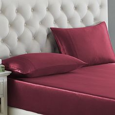 OOSilk 4 Pieces 100% Mulberry Charmeuse Silk Bed Sheet Set Seamless Deep Pocket (King, Red) - http://aluxurybed.com/product/oosilk-4-pieces-100-mulberry-charmeuse-silk-bed-sheet-set-seamless-deep-pocket-king-red/
