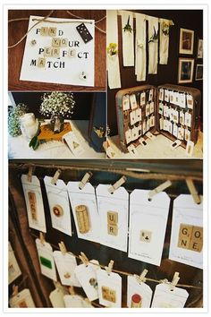 name tags, idea, escort cards, wedding games, place cards