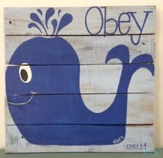 OBEY (Jonah 1-4) #obey #bookofJonah #Jonah #Bible #verses #scripture #storyofobedience #baby #nursery #whale #cute #children #kids #upcycled #handpainted #pallet #decor #gifts #MyCRO