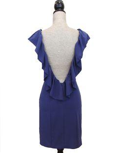 Kiss The Sky Open Back Ruffle Dress - Midnight Blue