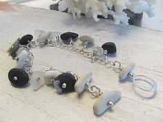 Natures charm bracelet in sterling silver with sea glass and beach rocks by JoDeneMoneuseJewelry