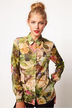 Lapel Long Sleeve Flower Pattern Shirt, #Wendybox
