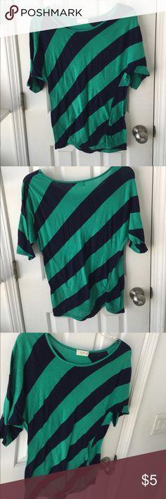 Green and navy stripe off shoulder Tunic Medium Vivid colors. No fading. Tops Tunics