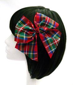 Gran lazo tartán pelo rojo arco con arco cojo grandes para niñas y adultos Elizabeth Burlesque Pinup arco en Tartan de Stewart por seriamente Sassy